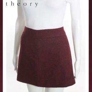 THEORY Chic Maroon Front Pleat Wool A-Line Skirt